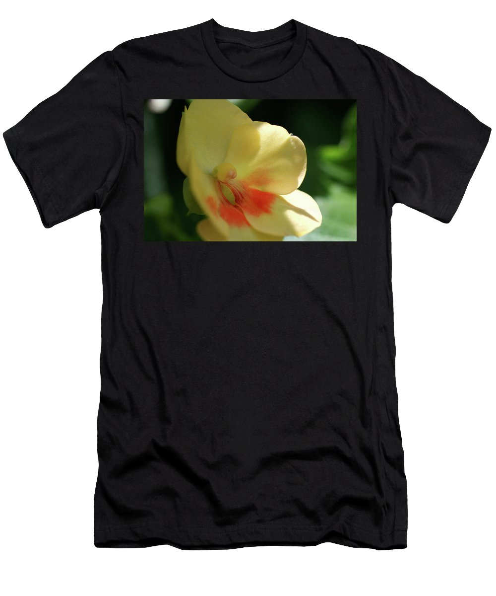 Close-up Photo Photography Flower Plant Yellow Orange Shade Orchid Men's T-Shirt (Athletic Fit) featuring the photograph Shaded Yellow Orchid by Christina Geiger