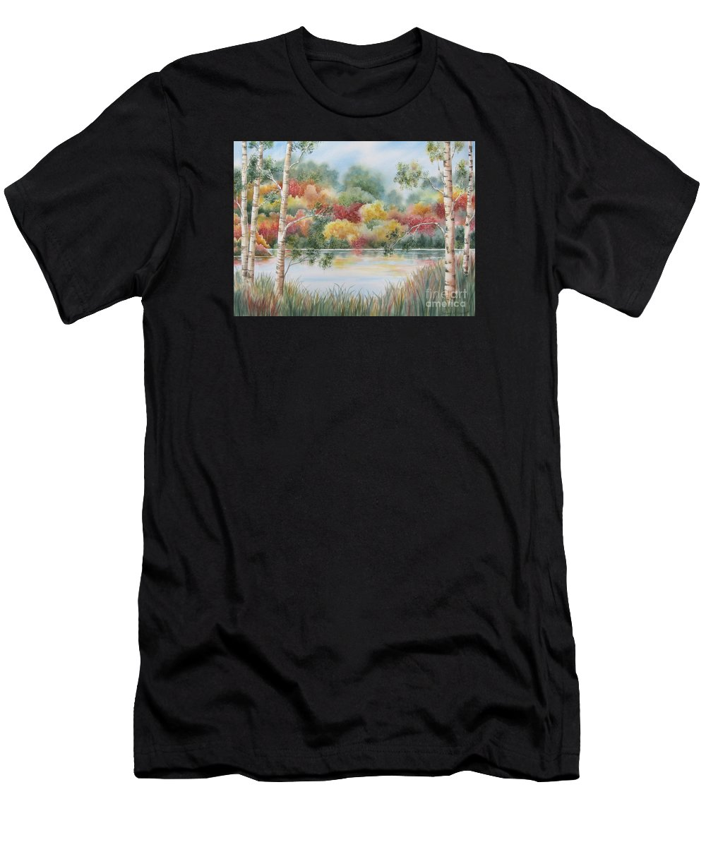 Autumn Landscape Men's T-Shirt (Athletic Fit) featuring the painting Shades Of Autumn by Deborah Ronglien