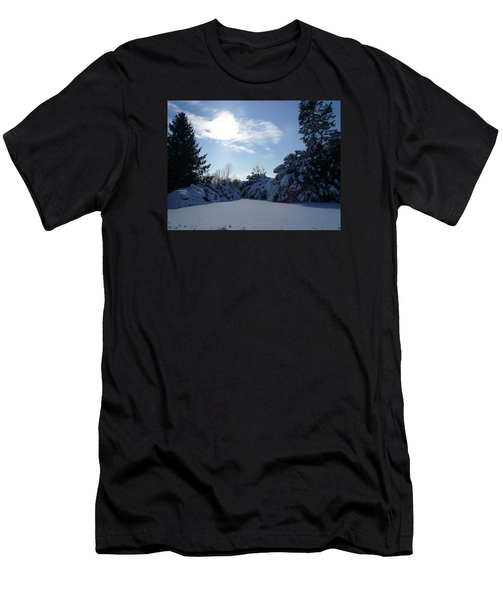 Blue Sky Men's T-Shirt (Athletic Fit) featuring the photograph Shades Of Blue In Winter by Connie Young