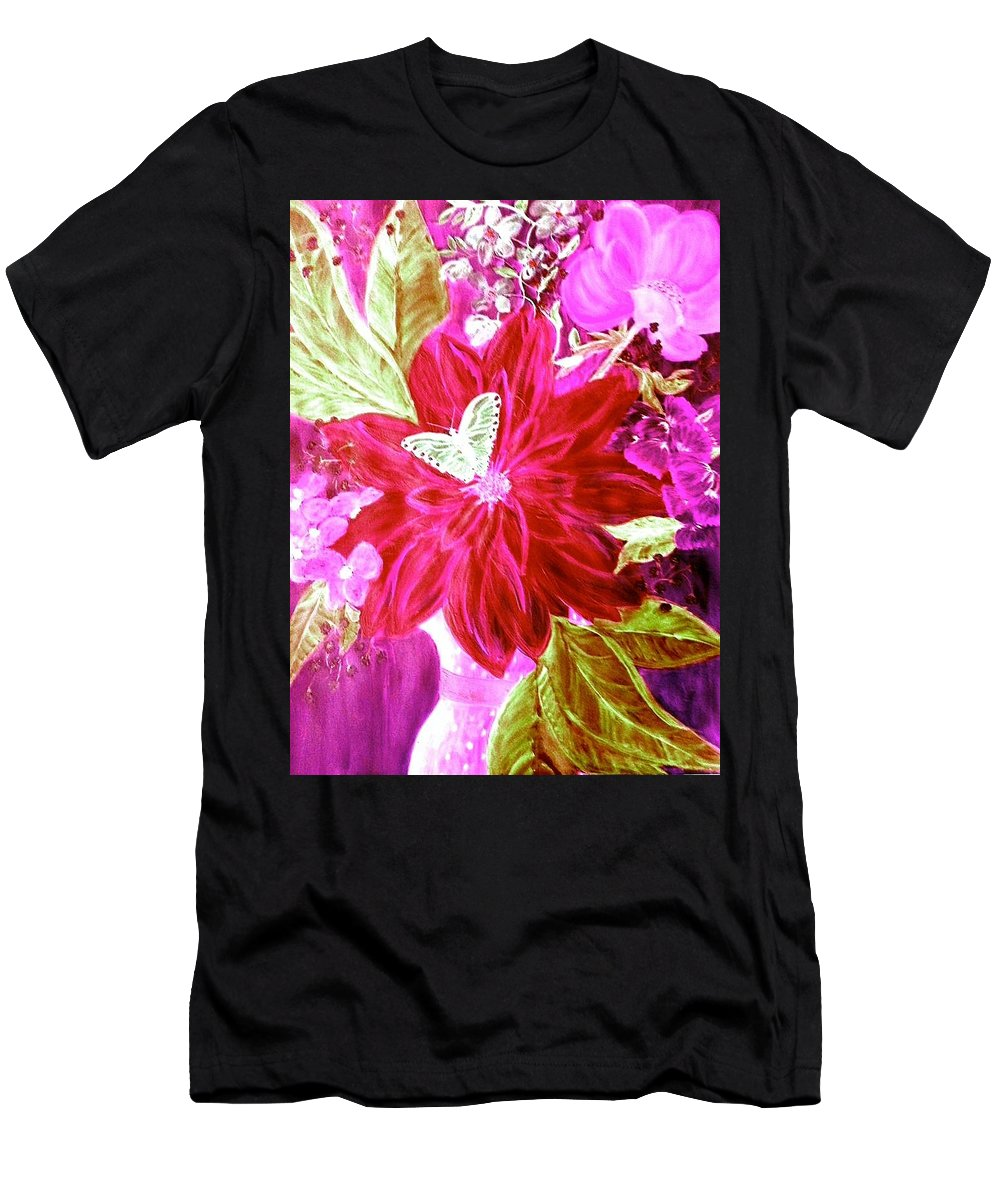 Flowers Men's T-Shirt (Athletic Fit) featuring the digital art Shades Of Pink Flowers by Carlene Harris