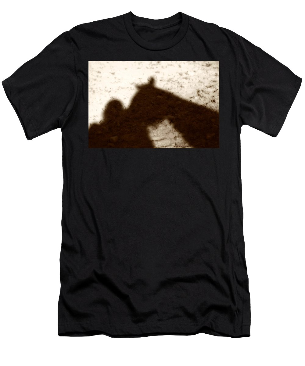 Shadow Men's T-Shirt (Athletic Fit) featuring the photograph Shadow Of Horse And Girl by Angela Rath