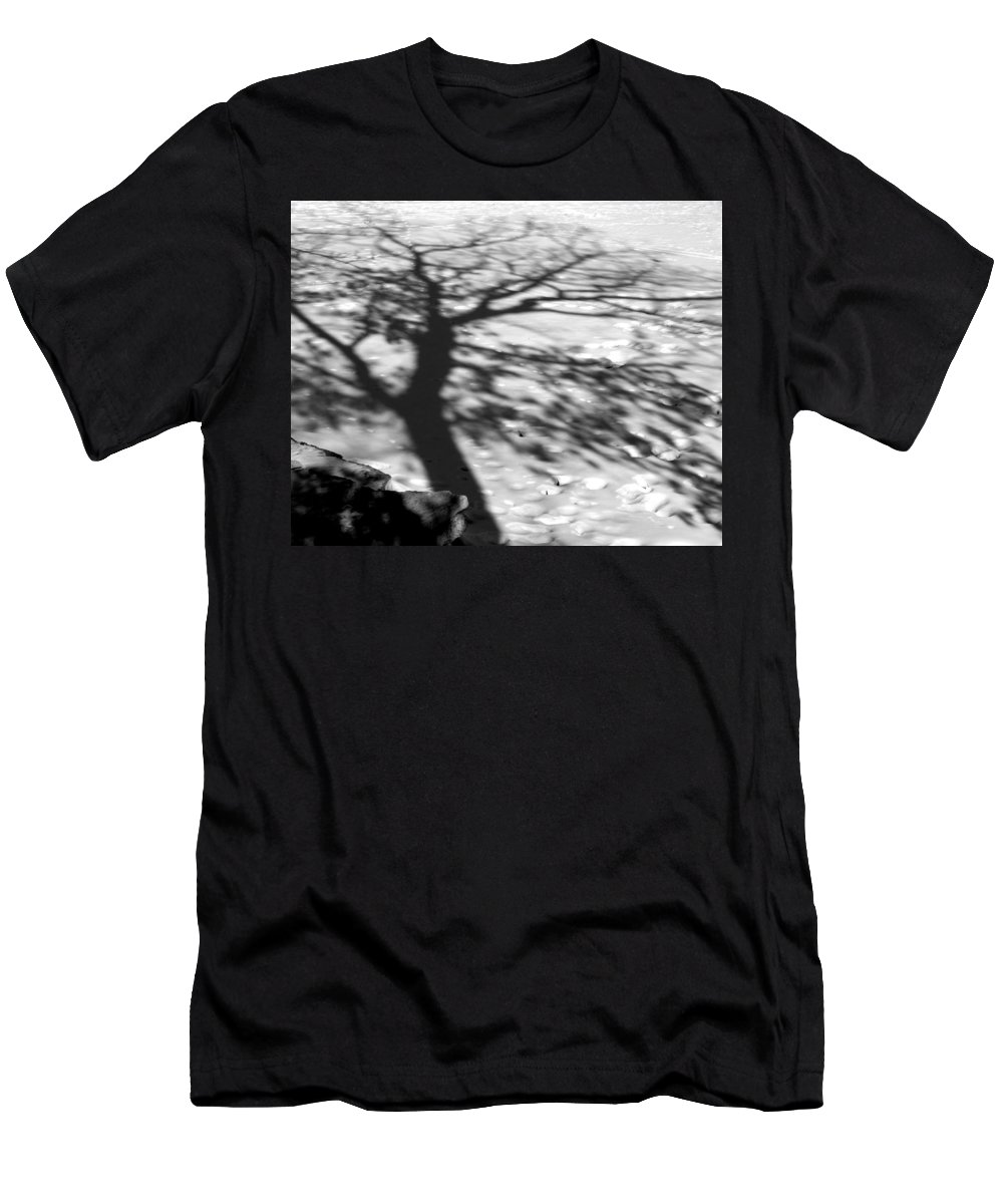 Shadow Men's T-Shirt (Athletic Fit) featuring the photograph Shadow Tree Herrick Lake Naperville Illinois by Michael Bessler