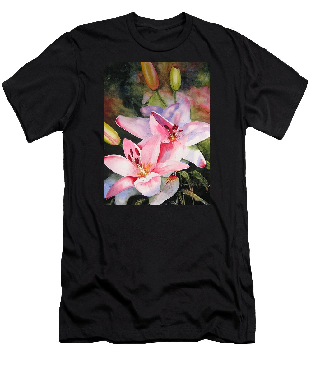Lilies Men's T-Shirt (Athletic Fit) featuring the painting Shady Ladies by Karen Stark