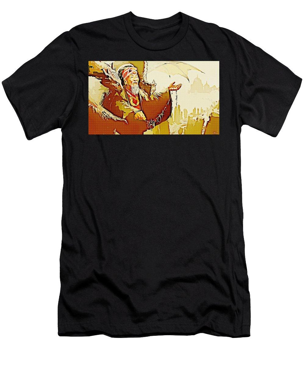 Shaman Men's T-Shirt (Athletic Fit) featuring the digital art Shaman by Lora Battle