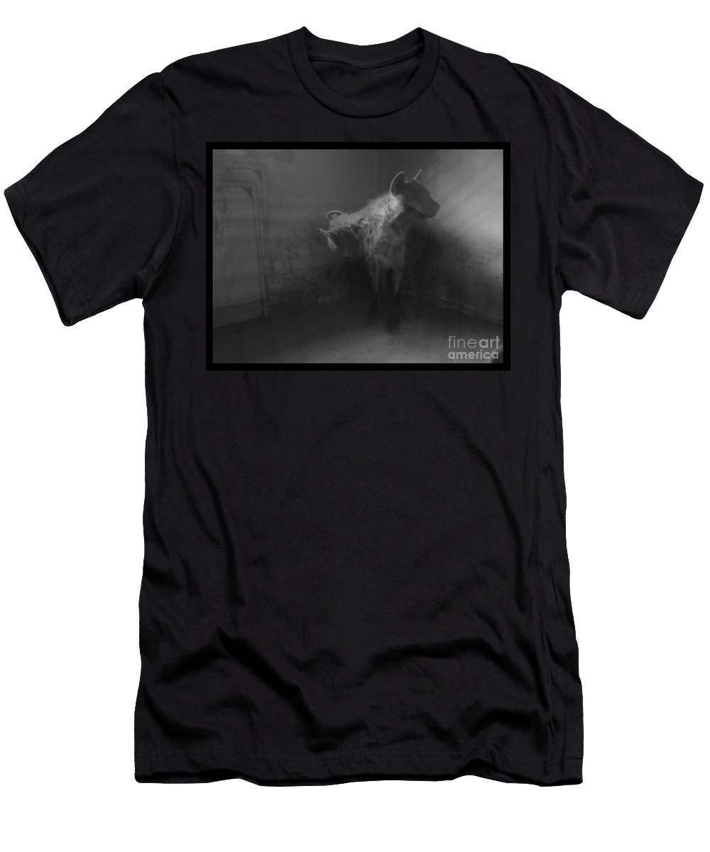 Hyena Zoo Black And White Cornered Beast Light Photo Manipulation Men's T-Shirt (Athletic Fit) featuring the photograph Shamed Beast by Mina Milad