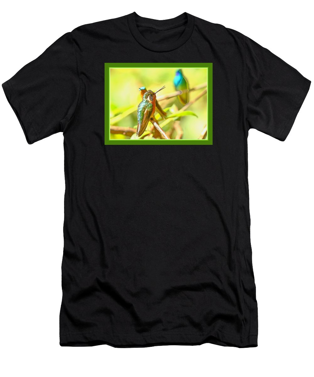 Hummingbirds Men's T-Shirt (Athletic Fit) featuring the photograph Sharing by BYETPhotography