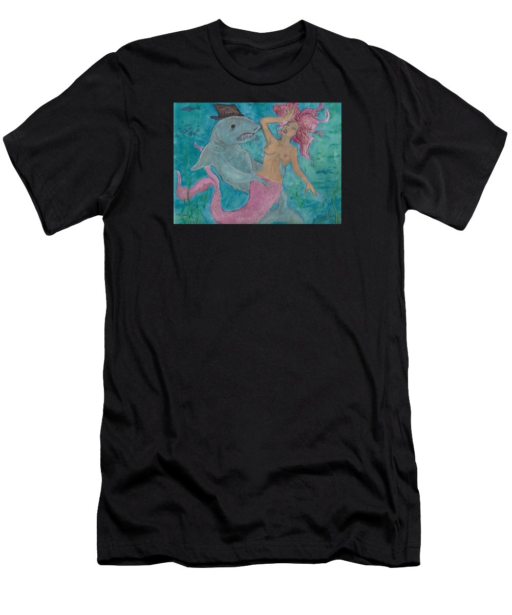 Mermaid Men's T-Shirt (Athletic Fit) featuring the painting Shark And The Mermaid by Russell Dillon