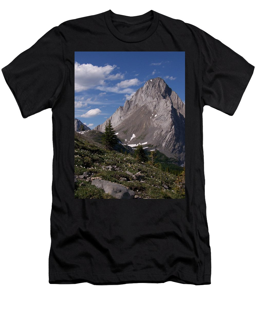 Wild Flowers Men's T-Shirt (Athletic Fit) featuring the photograph Shark Tooth Mountain by Greg Hammond
