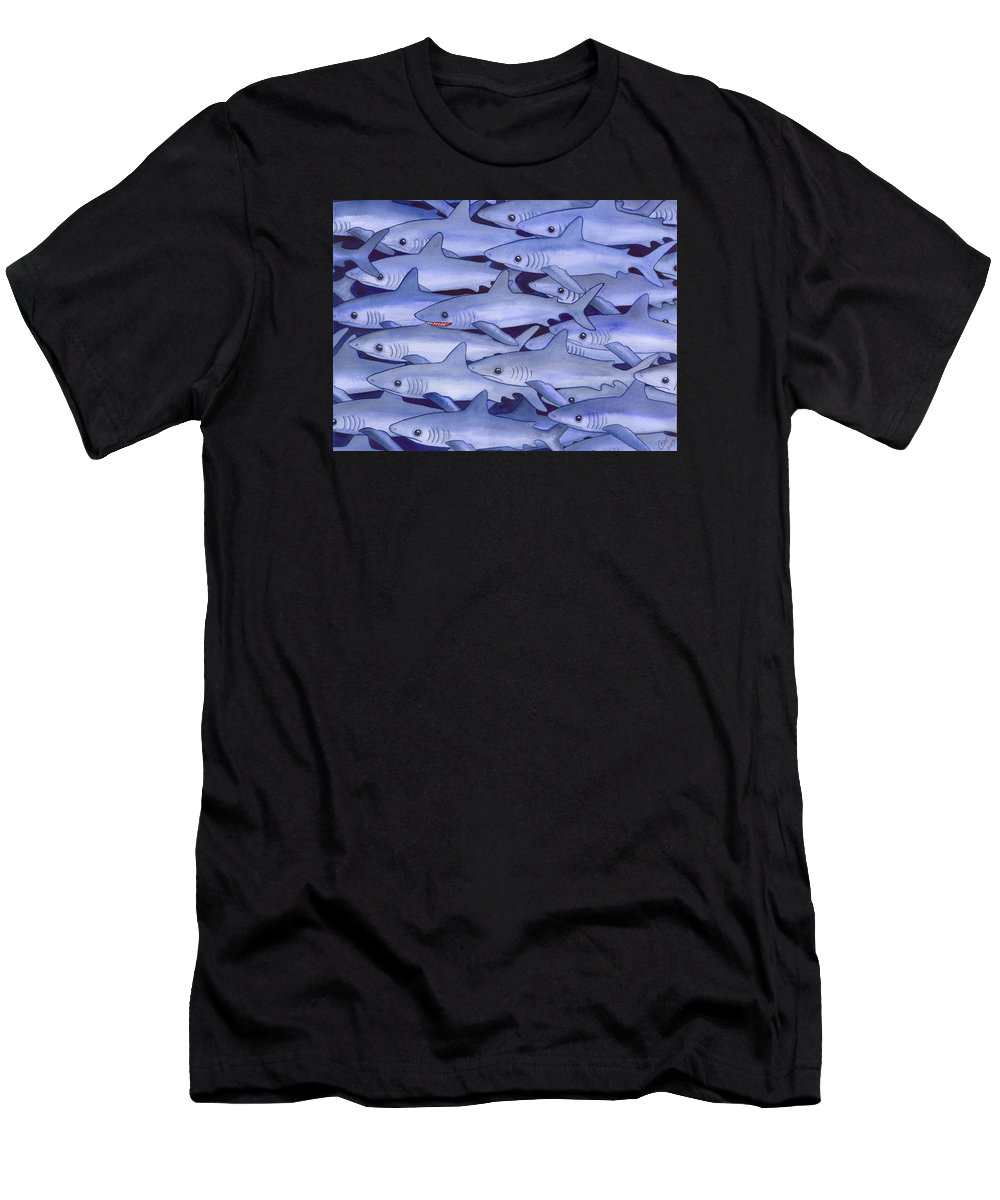 Shark Men's T-Shirt (Athletic Fit) featuring the painting Sharks by Catherine G McElroy