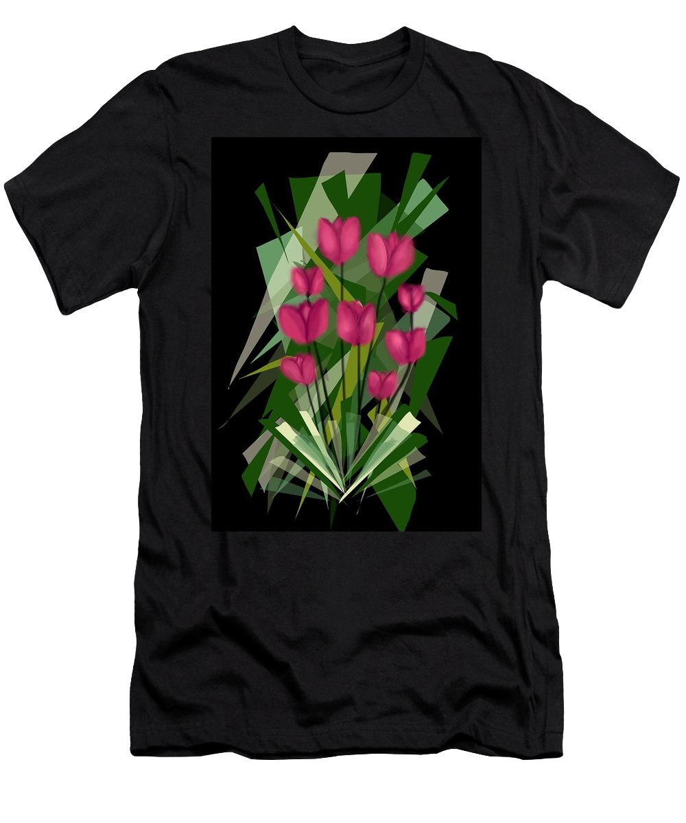 Flowers Men's T-Shirt (Athletic Fit) featuring the digital art Sharp Blades Of Tulips by Kathleen Hromada