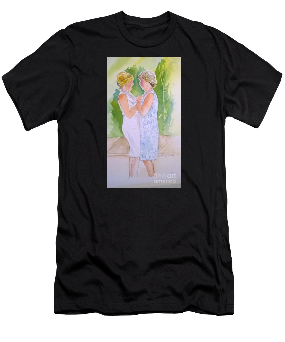 I Just Finished This Painting For A Client On My Etsy Site: Etsy.com/shop/jillywillyart. I Love Painting From Your Photos. I Like To Imagine The Story. A Story Long Before The Photo Was Taken. I Would Love To Paint For You. You Can Contact Me Here Or At My Shop On Etsy. Thank You T-Shirt featuring the painting Shawn's Wedding by Jill Morris