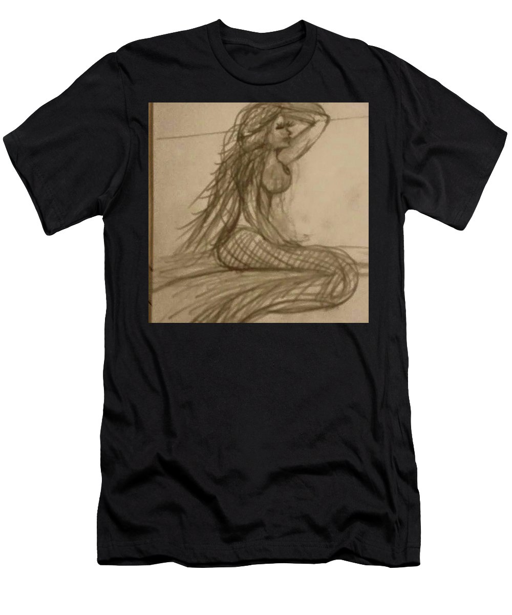 Mermaid Mermaids Men's T-Shirt (Athletic Fit) featuring the drawing She Waits by Christina Marie