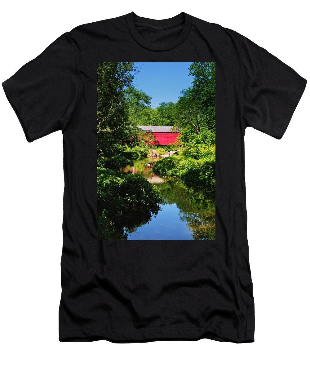 Sheards Mill Bridge Men's T-Shirt (Athletic Fit) featuring the photograph Sheards Mill Bridge - Nockamixon Pa by Bill Cannon