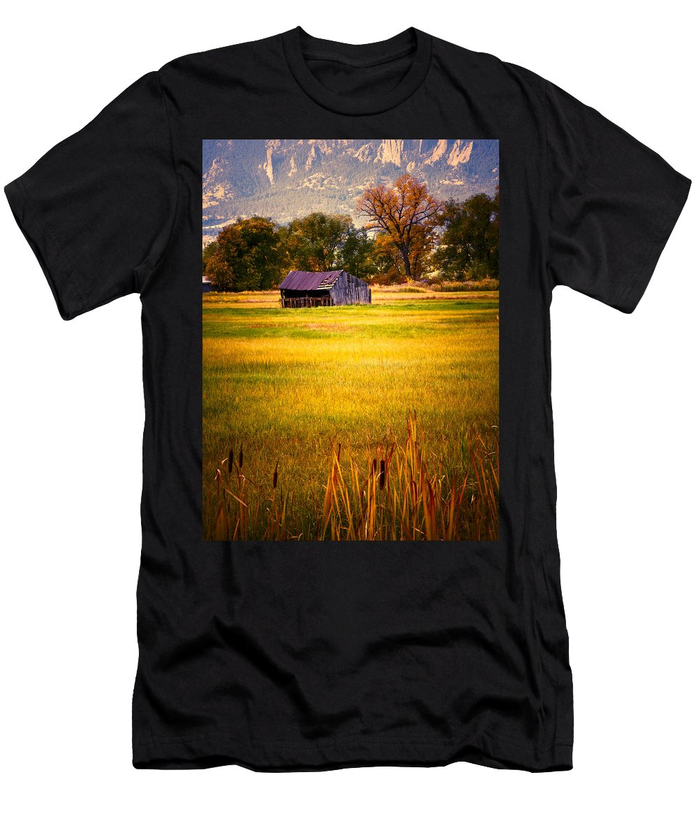 Shed Men's T-Shirt (Athletic Fit) featuring the photograph Shed In Sunlight by Marilyn Hunt