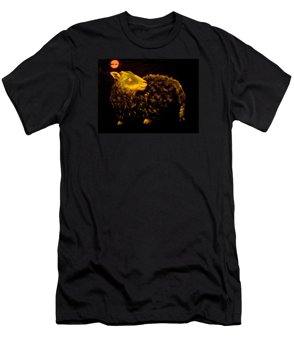Sheep Men's T-Shirt (Athletic Fit) featuring the painting Sheep At Night by Mark Cawood
