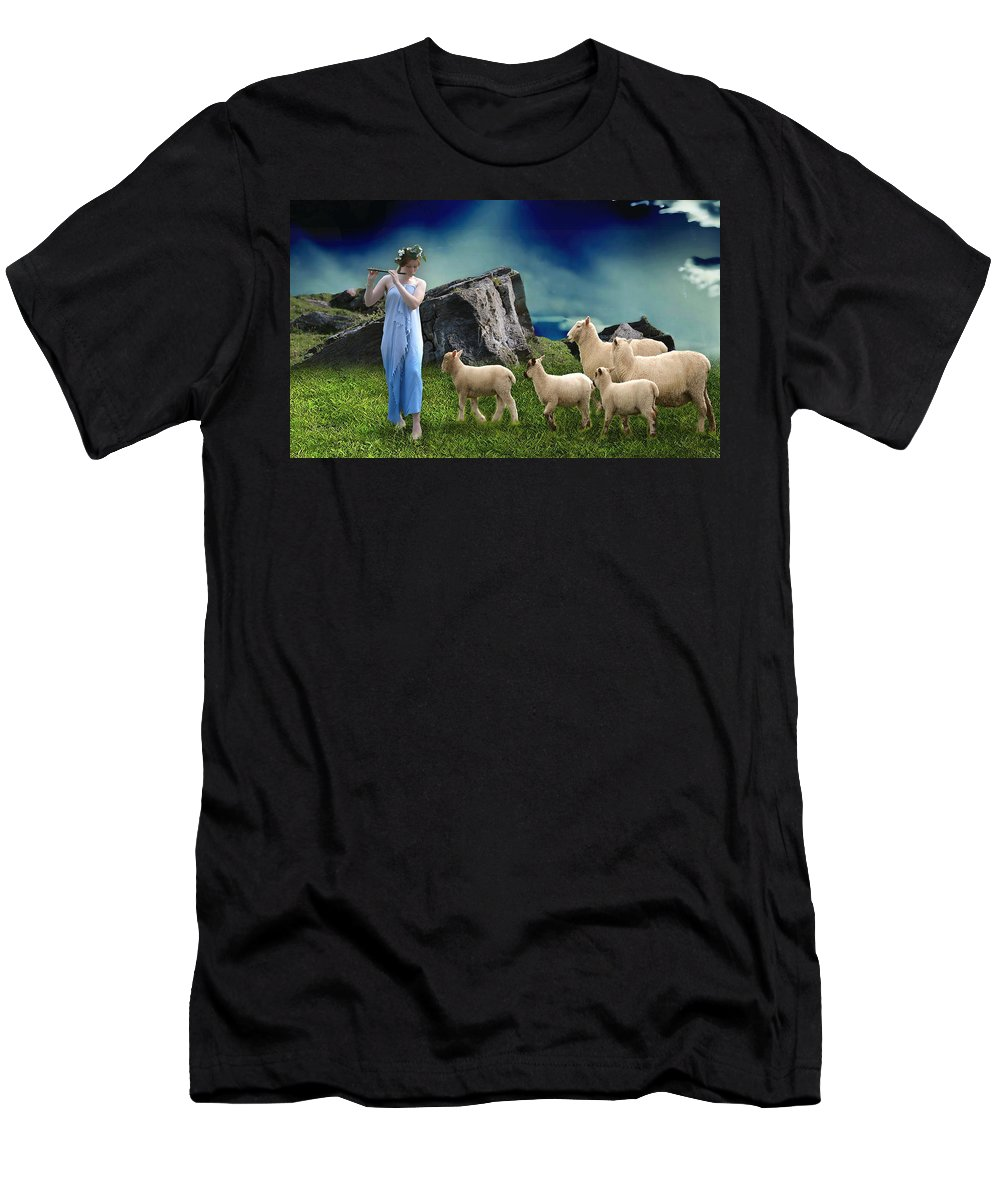 Sheepherder Men's T-Shirt (Athletic Fit) featuring the mixed media Sheep Whisperer by Marvin Blaine
