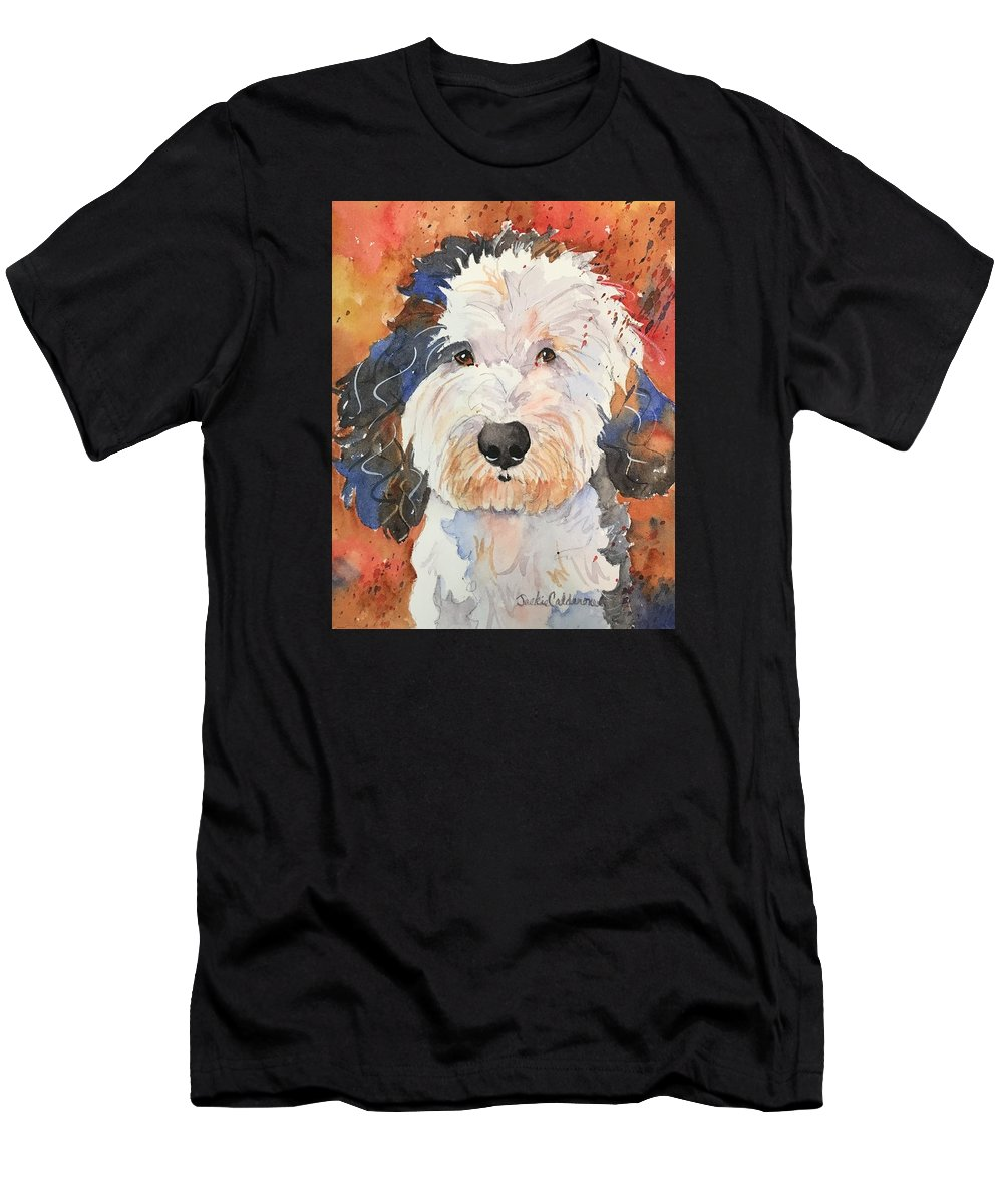 Watercolor Painting Men's T-Shirt (Athletic Fit) featuring the painting Sheepadoodle by Jackie Calderone