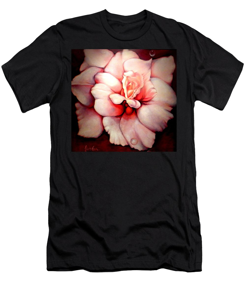 Blooms.large Rose Men's T-Shirt (Athletic Fit) featuring the painting Sheer Bliss by Jordana Sands