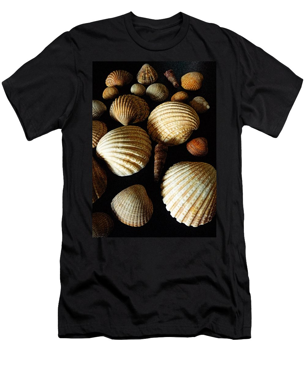 Shell Men's T-Shirt (Athletic Fit) featuring the mixed media Shell Art - D by P Donovan