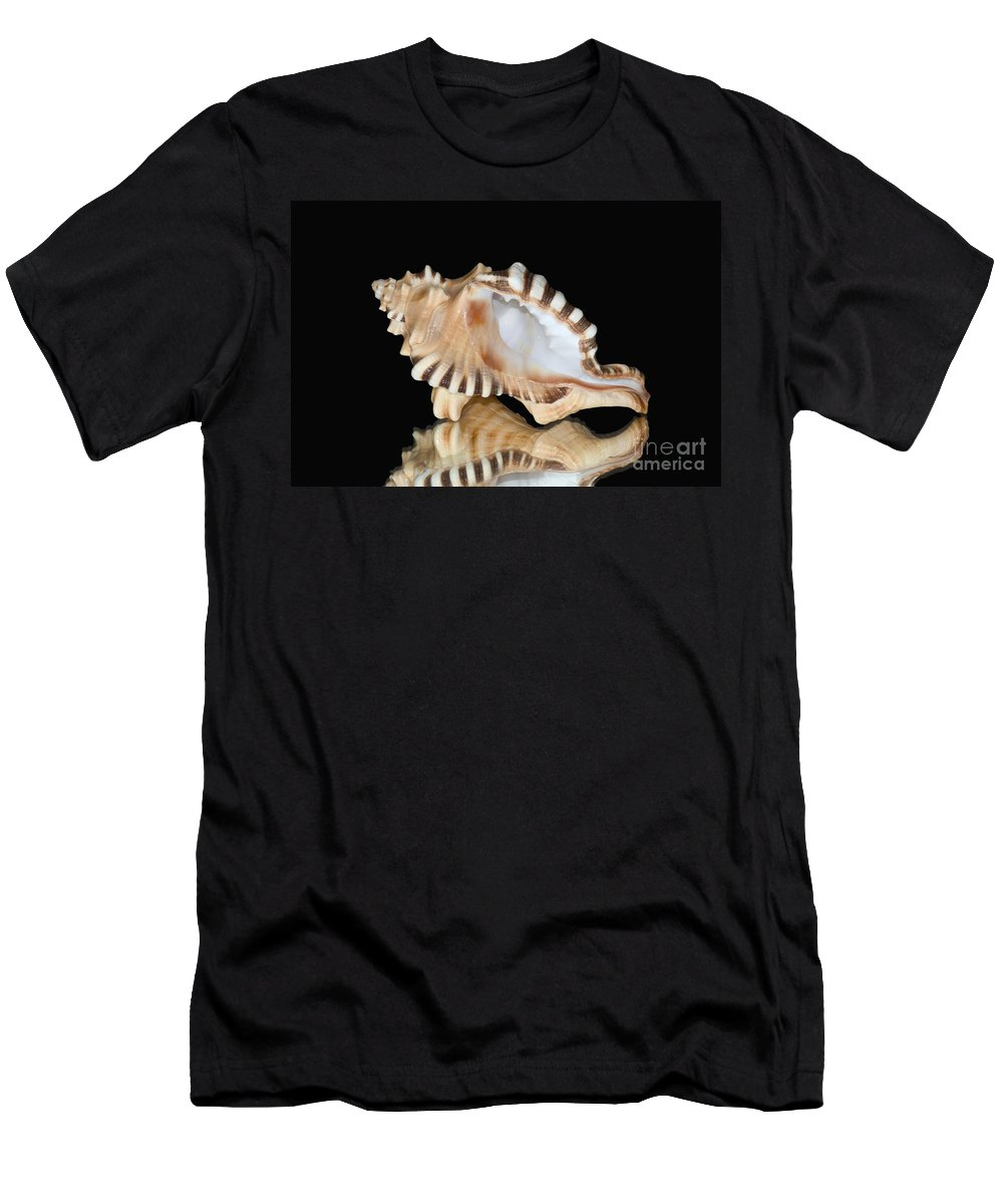 76-pfs0003 Men's T-Shirt (Athletic Fit) featuring the photograph Shell On Black by Bill Brennan - Printscapes