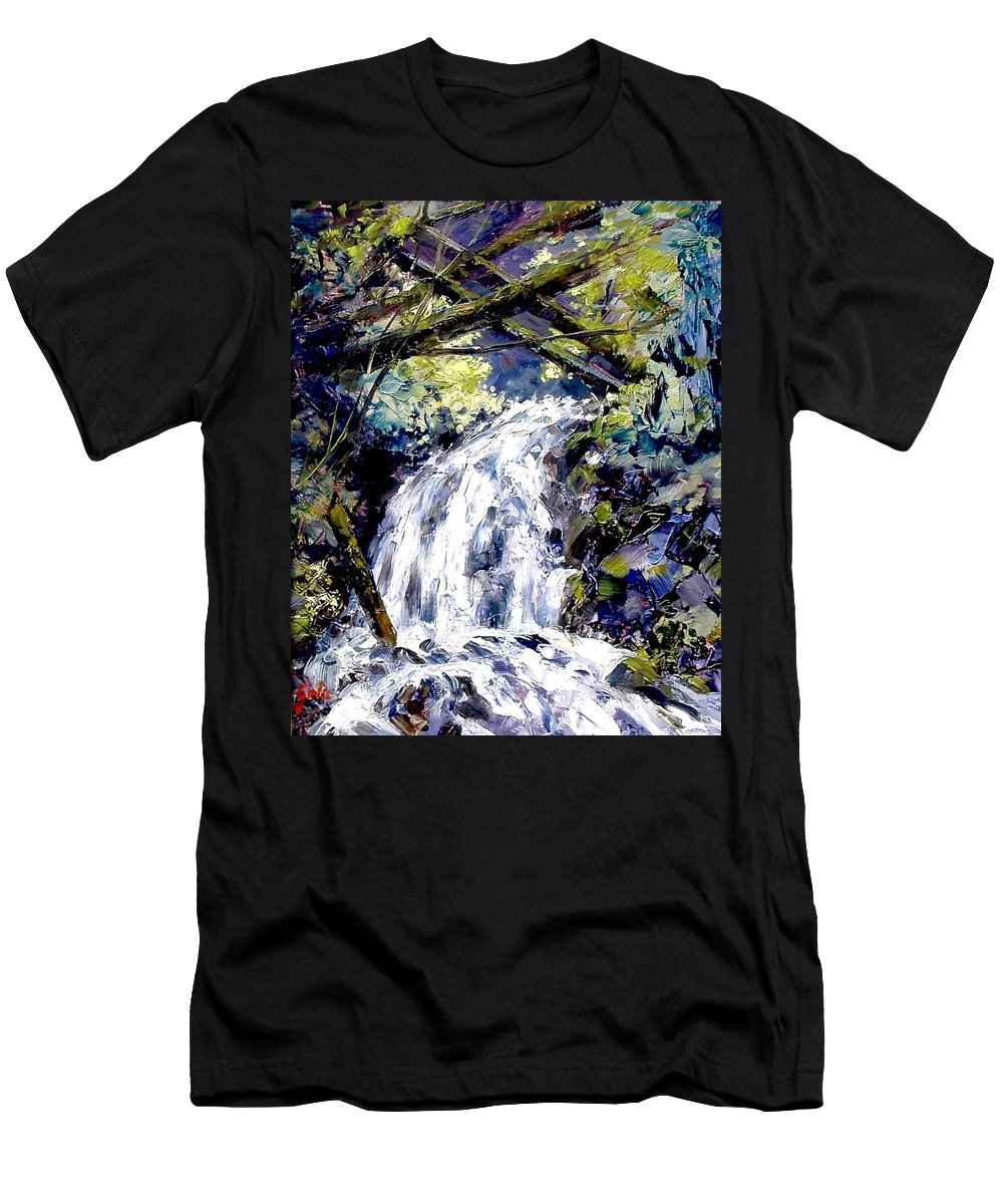 Landscape Men's T-Shirt (Athletic Fit) featuring the painting Shepherds Dell Falls Coumbia Gorge Or by Jim Gola