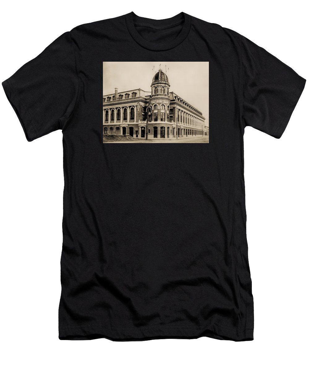 Shibe Men's T-Shirt (Athletic Fit) featuring the photograph Shibe Park 1913 In Sepia by Bill Cannon