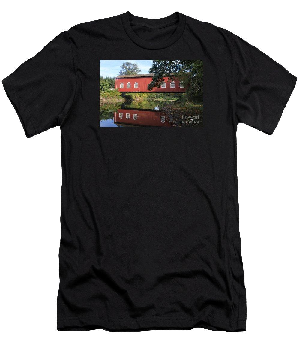 Shimanek Bridge Men's T-Shirt (Athletic Fit) featuring the photograph Shimanek Bridge by Nelson Smith
