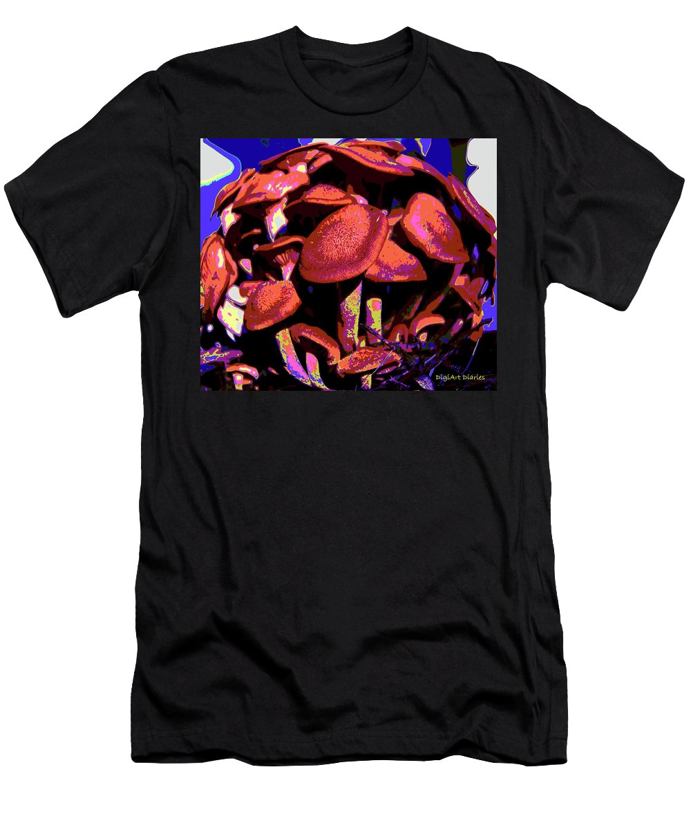 Mushrooms Men's T-Shirt (Athletic Fit) featuring the digital art Shimmering Shrooms by DigiArt Diaries by Vicky B Fuller