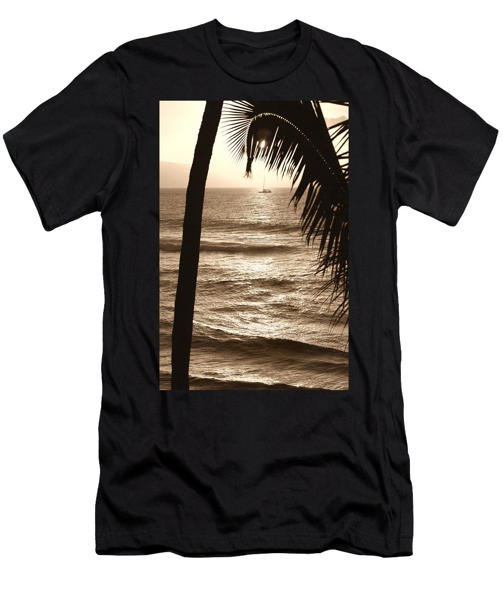 Hawaii Men's T-Shirt (Athletic Fit) featuring the photograph Ship In Sunset by Marilyn Hunt