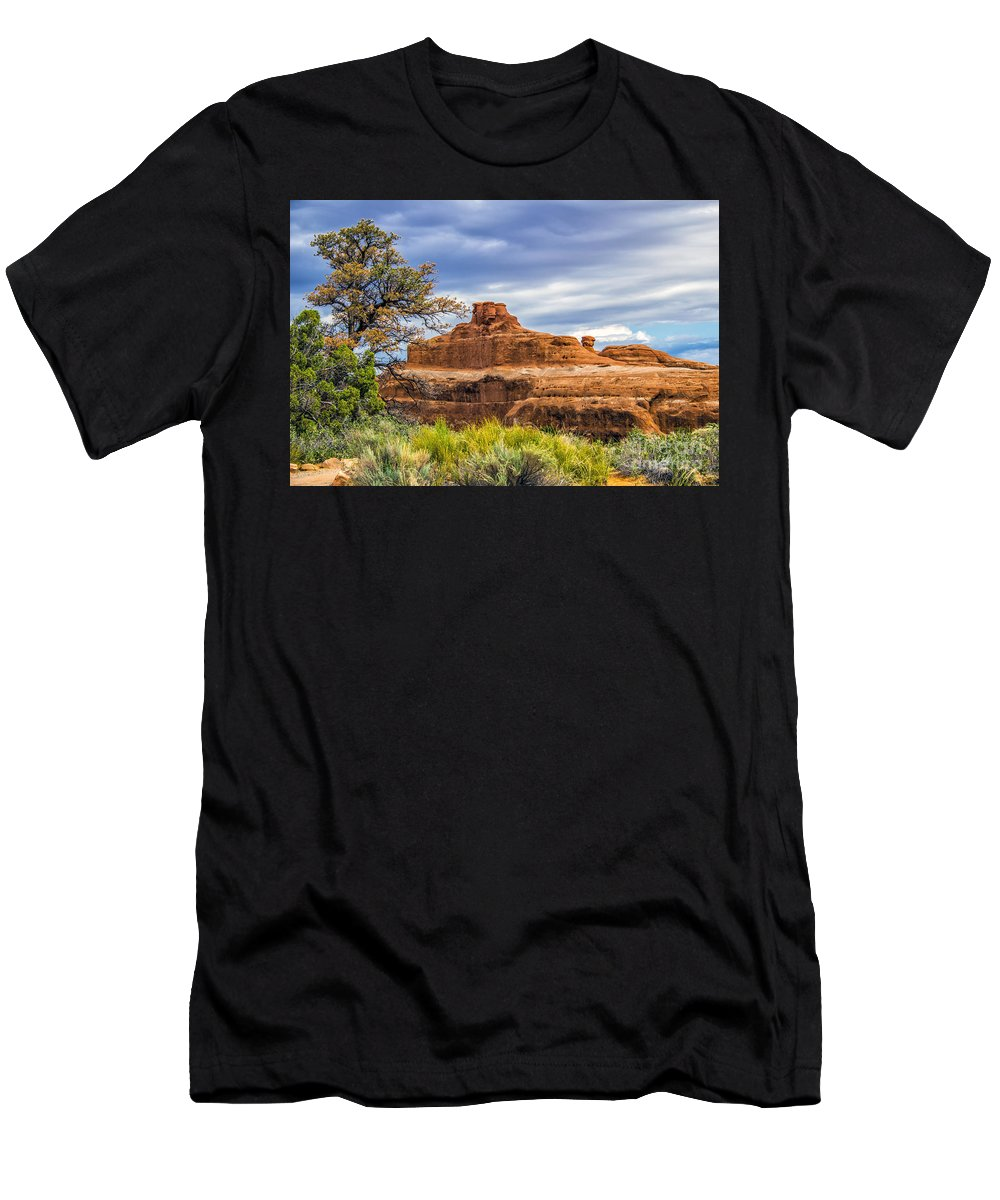 Arches Men's T-Shirt (Athletic Fit) featuring the photograph Ship In The Desert by Roberta Bragan