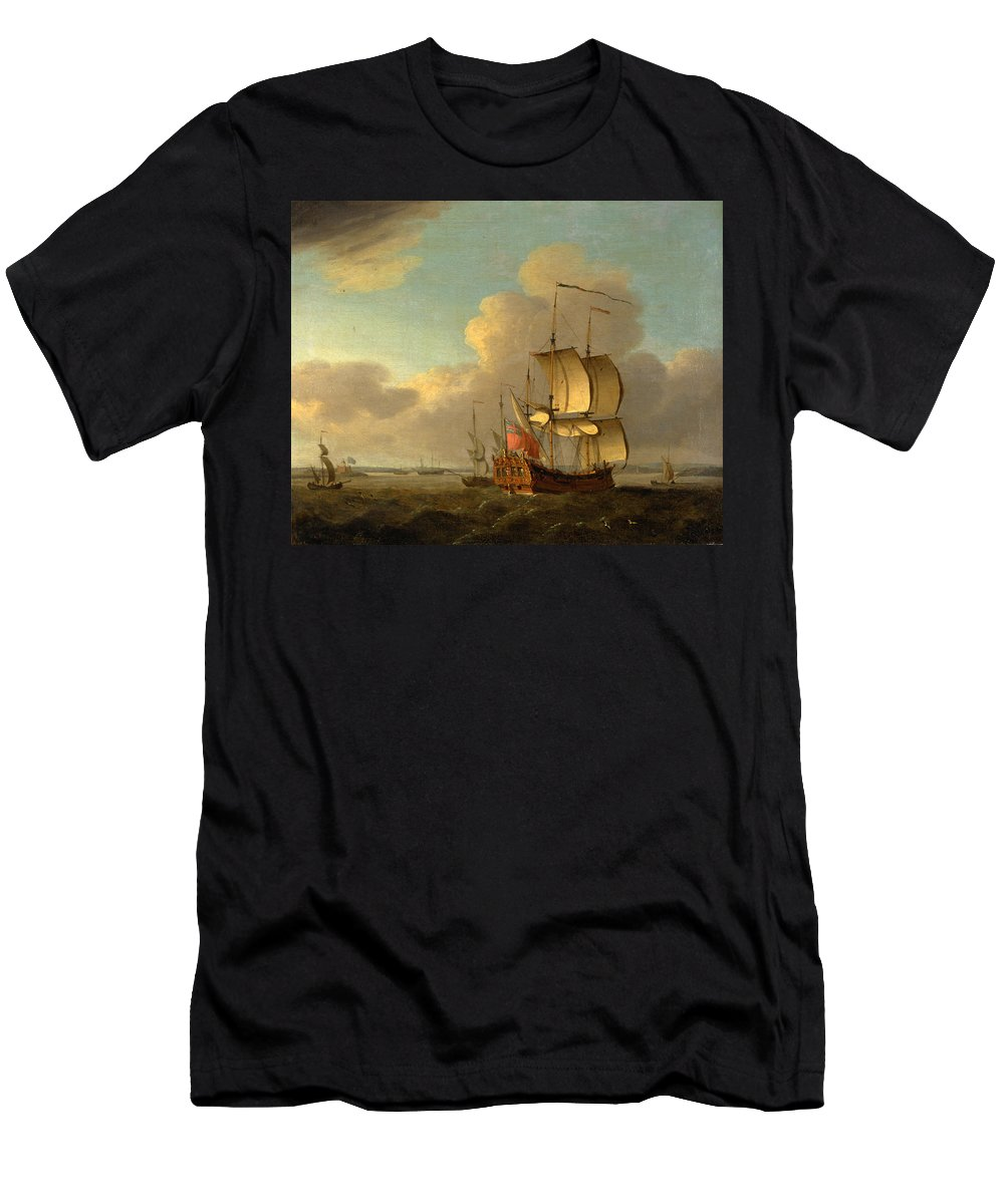 Thomas Mellish Men's T-Shirt (Athletic Fit) featuring the painting Shipping In The Thames Estuary by Thomas Mellish