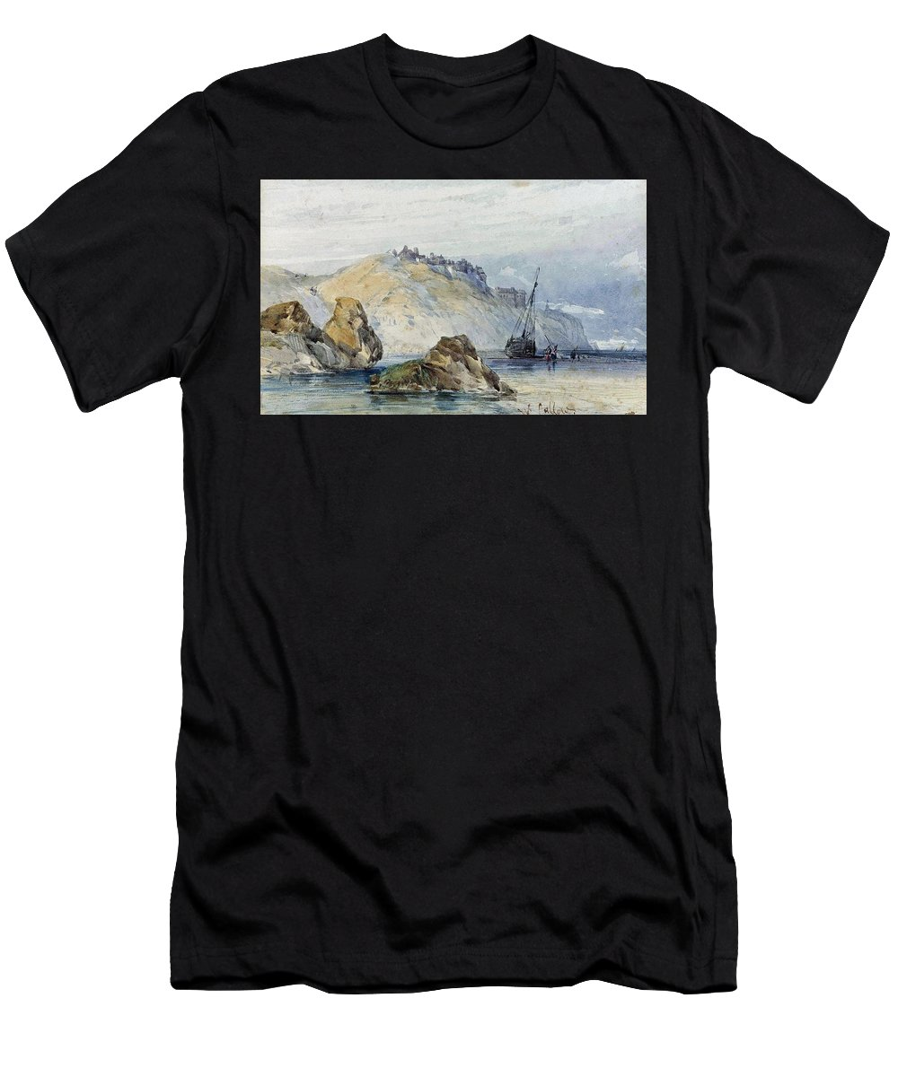 William Callow - Shipping Off The Coast Of Granville Men's T-Shirt (Athletic Fit) featuring the painting Shipping Off The Coast Of Granville by MotionAge Designs