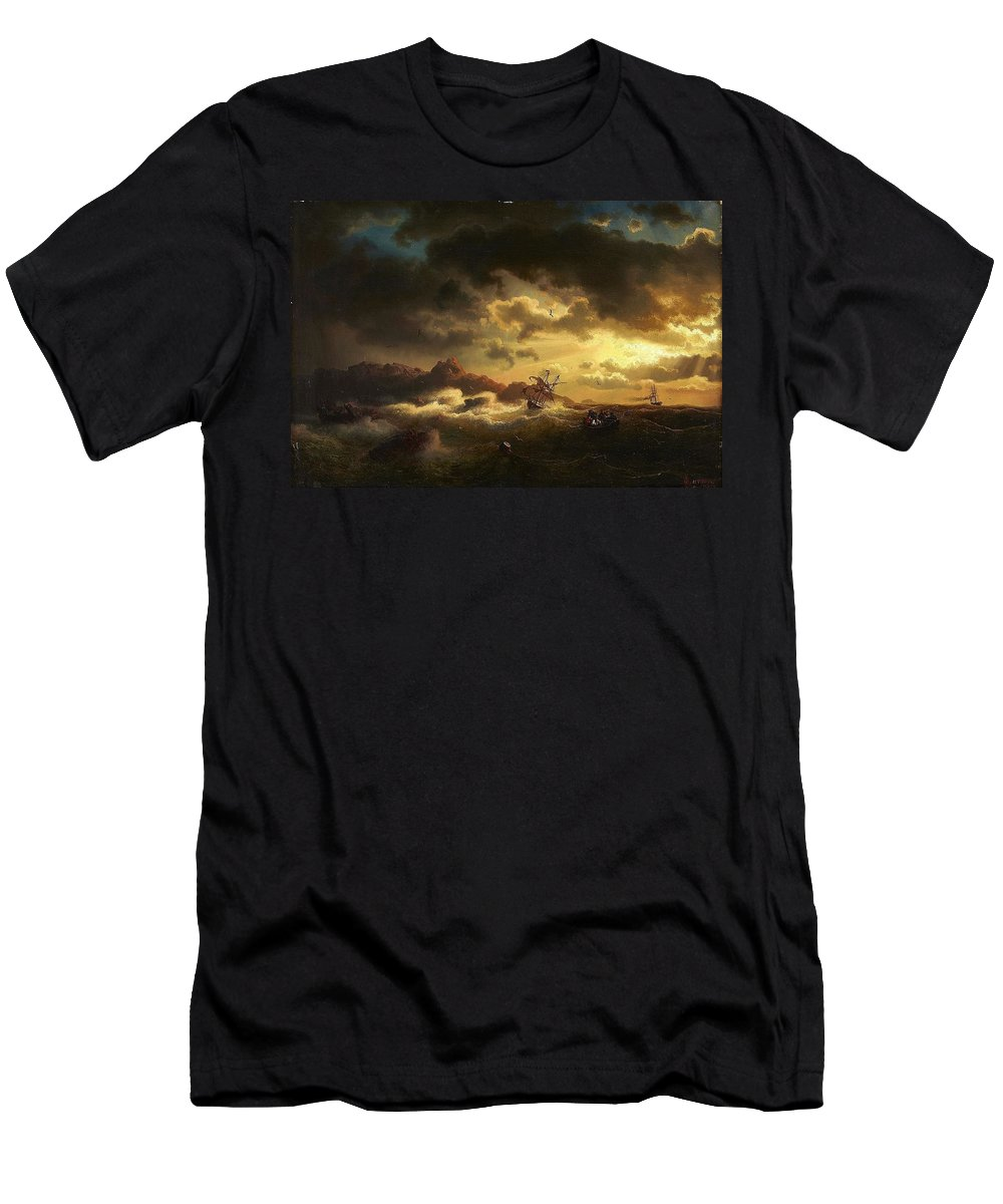 Marcus Larson 1825-1864 Shipwreck Men's T-Shirt (Athletic Fit) featuring the painting Shipwreck by Marcus Larson