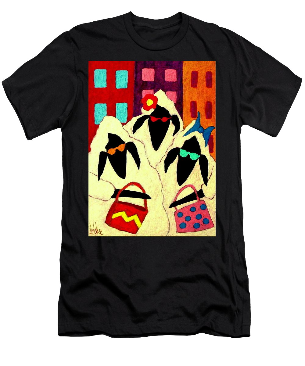 Sheep Men's T-Shirt (Athletic Fit) featuring the painting Shopping Sheep Divas by John Blake