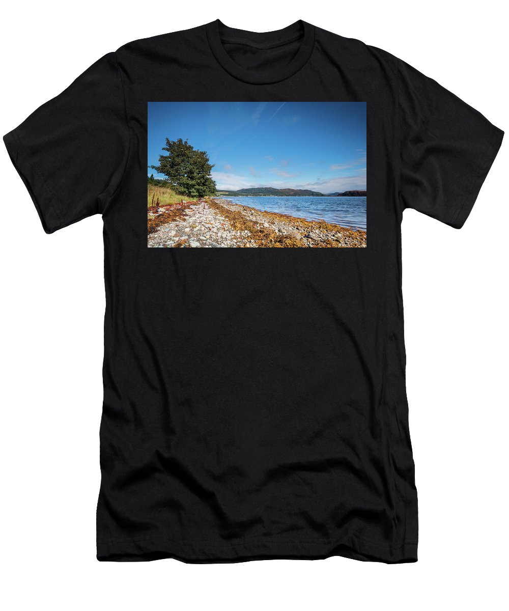 Argyll Men's T-Shirt (Athletic Fit) featuring the photograph Shoreline On The Kyles Of Bute by David Head