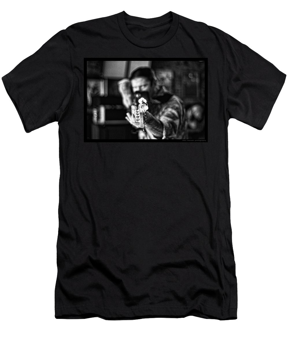 Guitar Men's T-Shirt (Athletic Fit) featuring the photograph Shot Through The Heart by Sheri Bartoszek