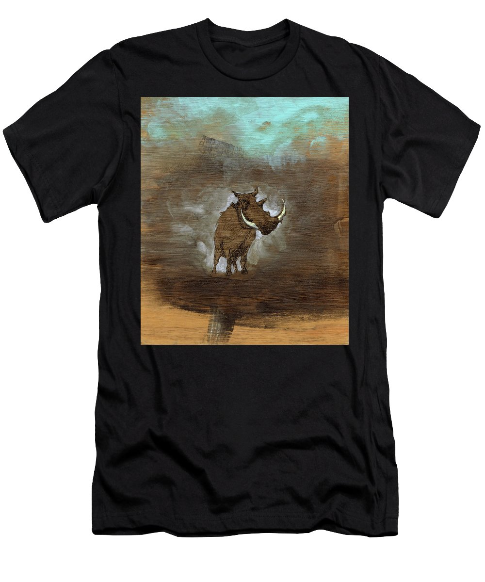 Fish Men's T-Shirt (Athletic Fit) featuring the mixed media Showdown by Sam Arneson