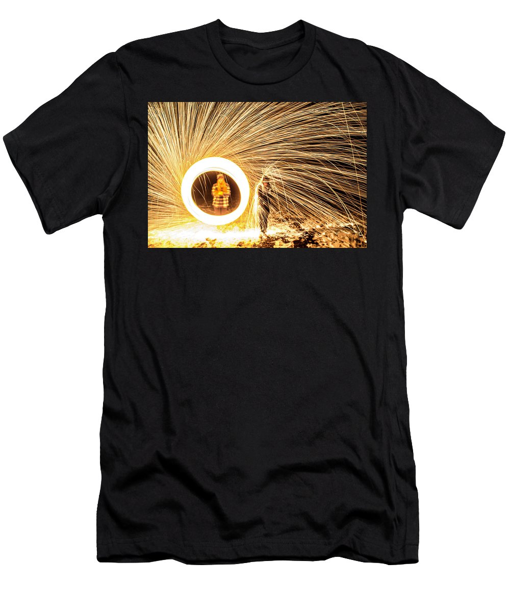 Men's T-Shirt (Athletic Fit) featuring the pyrography Shower Of Fire by Luke Clark