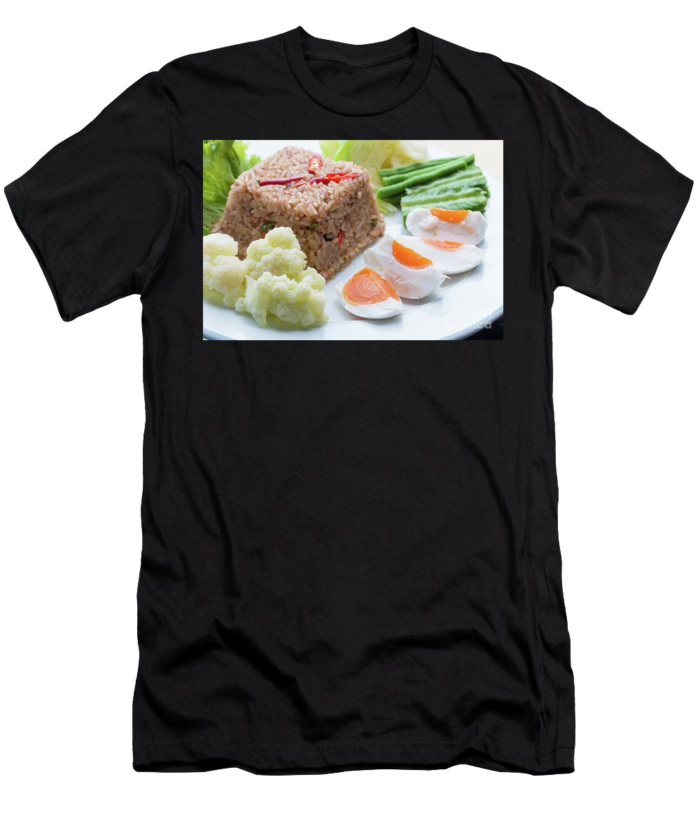 Asian Men's T-Shirt (Athletic Fit) featuring the photograph Shrimp Paste Fried Rice by Atiketta Sangasaeng