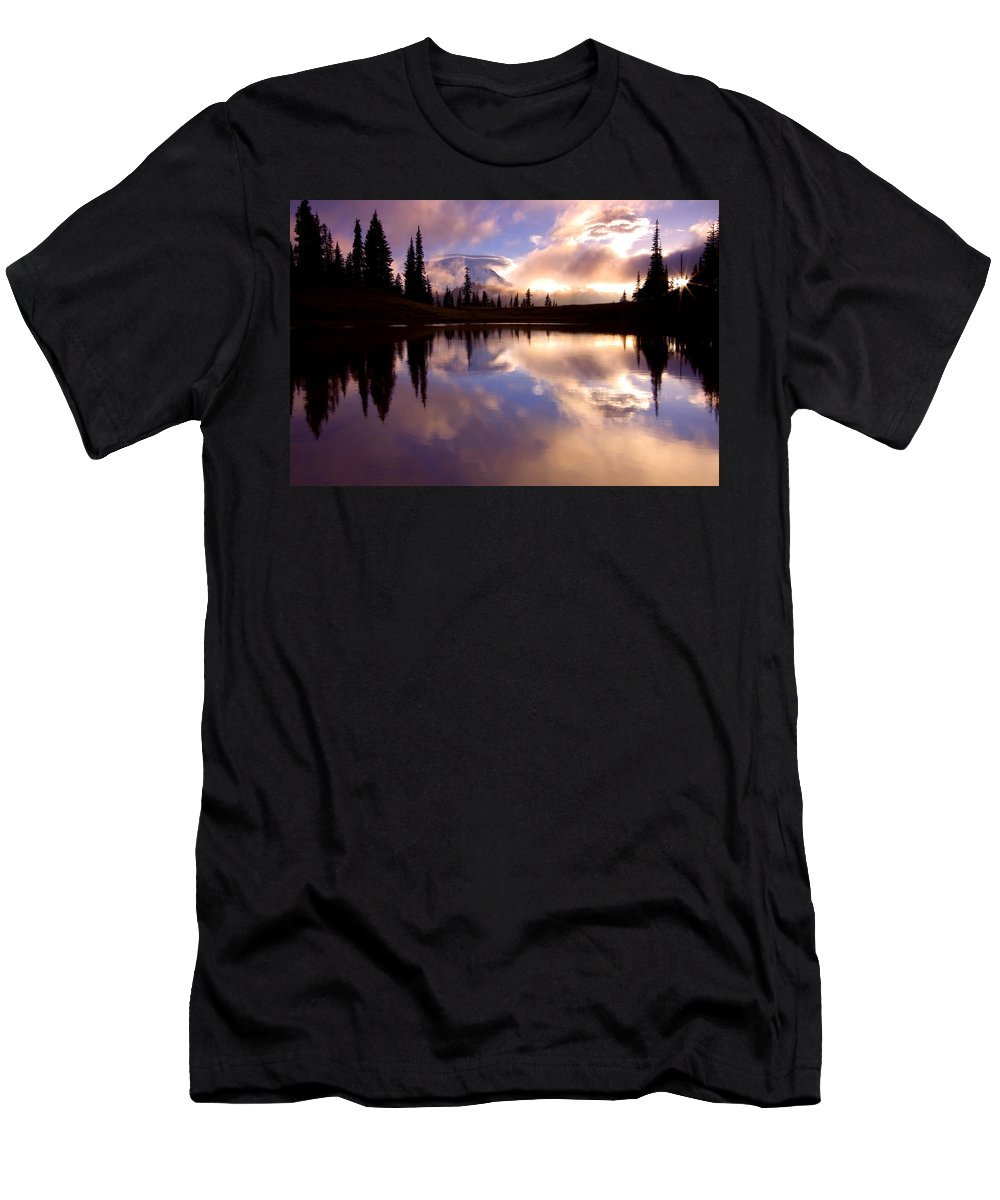 Rainier Men's T-Shirt (Athletic Fit) featuring the photograph Shrouded In Clouds by Mike Dawson