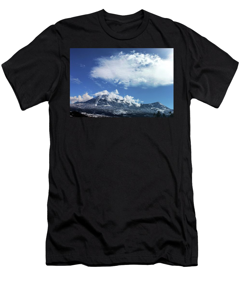 Mountains Men's T-Shirt (Athletic Fit) featuring the photograph Shrouded by Samantha Burrow