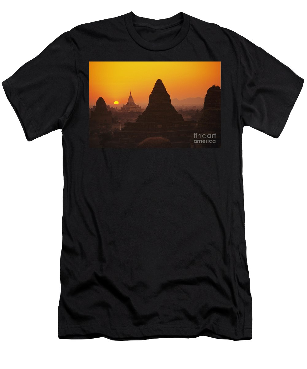 Ancient Men's T-Shirt (Athletic Fit) featuring the photograph Shwesandaw Paya Temples by Gloria & Richard Maschmeyer - Printscapes