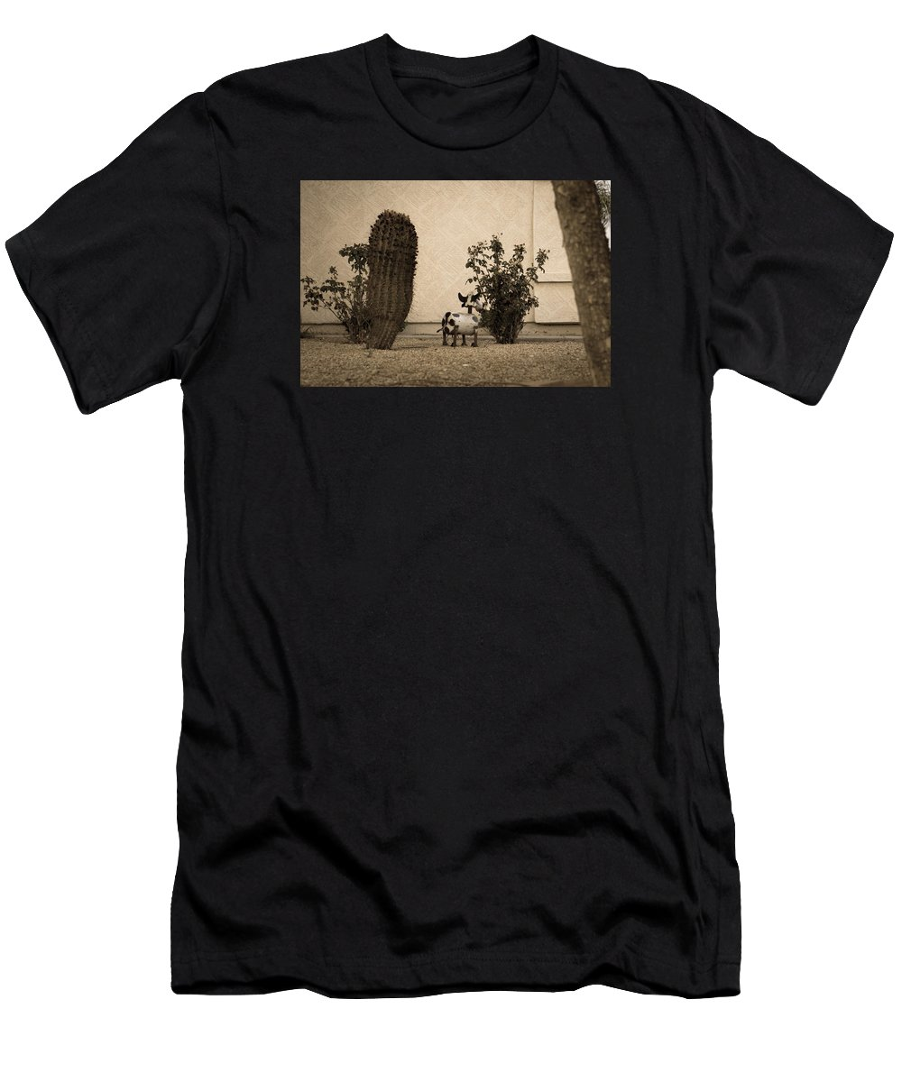 Shy Men's T-Shirt (Athletic Fit) featuring the photograph Shy Cow by Daniel Seok