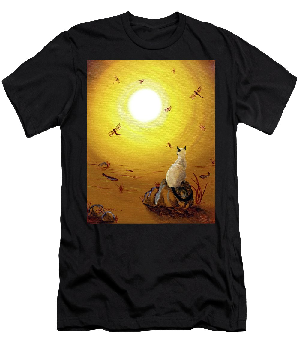 Siamese Cat Men's T-Shirt (Athletic Fit) featuring the painting Siamese Cat With Red Dragonflies by Laura Iverson