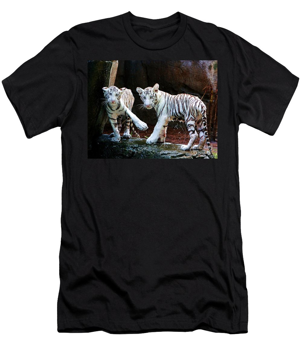 Tiger Men's T-Shirt (Athletic Fit) featuring the photograph Siberian Tiger Cubs by Randy Matthews