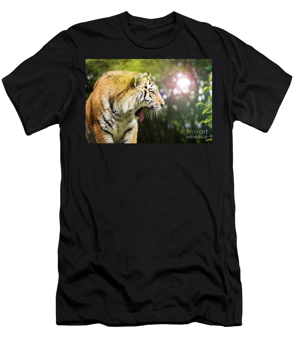 Tiger Men's T-Shirt (Athletic Fit) featuring the photograph Siberian Tiger In Sunlit Forest by Jane Rix