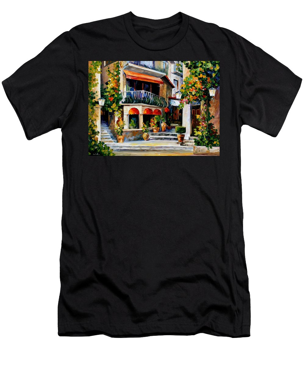 Afremov Men's T-Shirt (Athletic Fit) featuring the painting Sicily - Spring Morning by Leonid Afremov