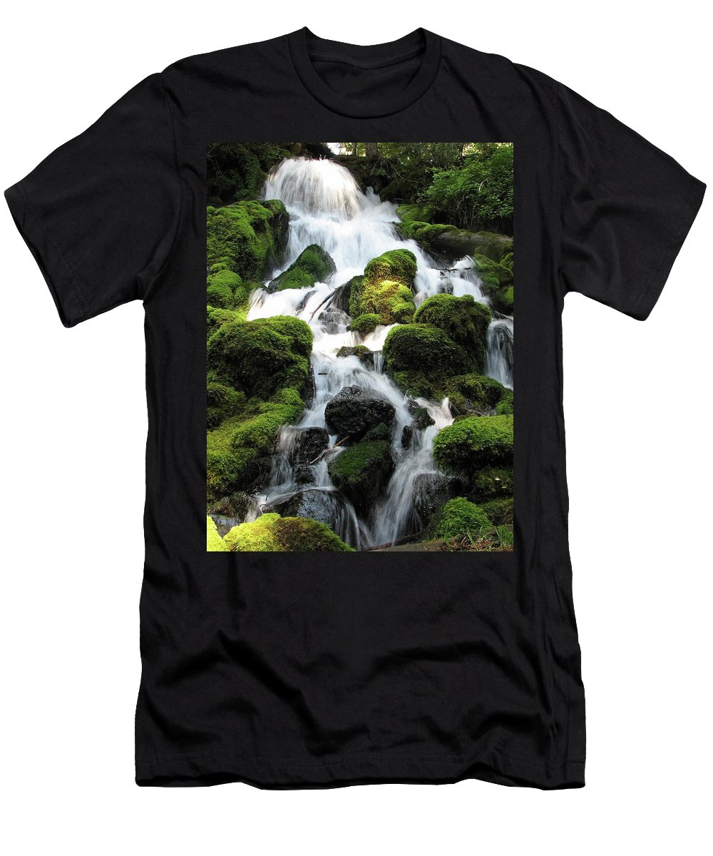 Green Men's T-Shirt (Athletic Fit) featuring the photograph Side Of Clearwater Falls by Teri Schuster