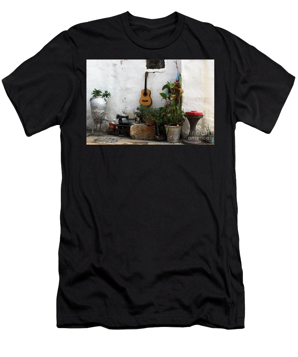 Akko; Acre; Israel; Old Town; Mixed Media; Guitar; Hodge Podge; Miscellania; Potted Plants; Urban Art; Collage; Street Art; Streetscape; Planters Men's T-Shirt (Athletic Fit) featuring the photograph Sidewalk Collage #2 by PJ Boylan