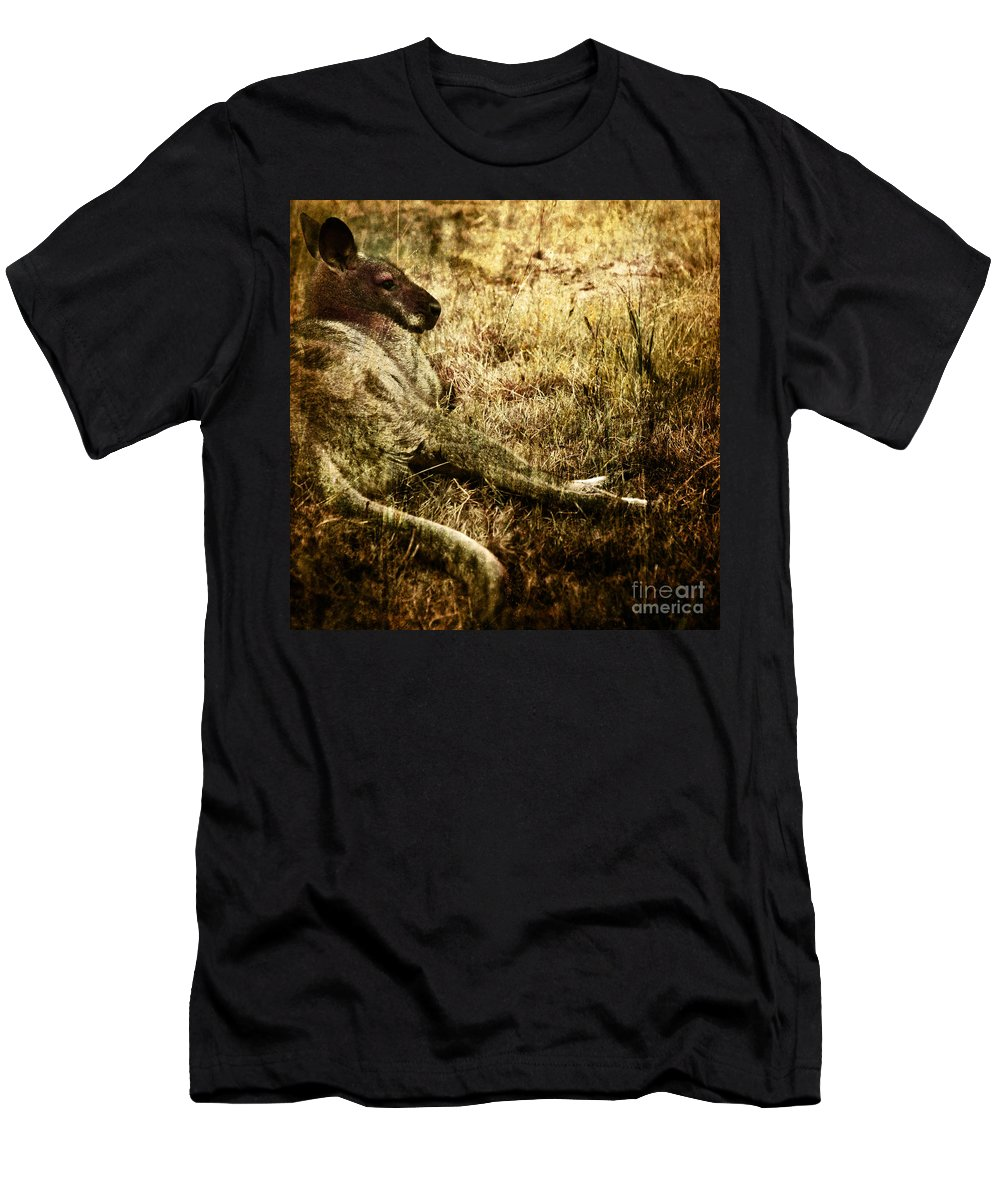 Cangaroo Men's T-Shirt (Athletic Fit) featuring the photograph Siesta by Angel Ciesniarska